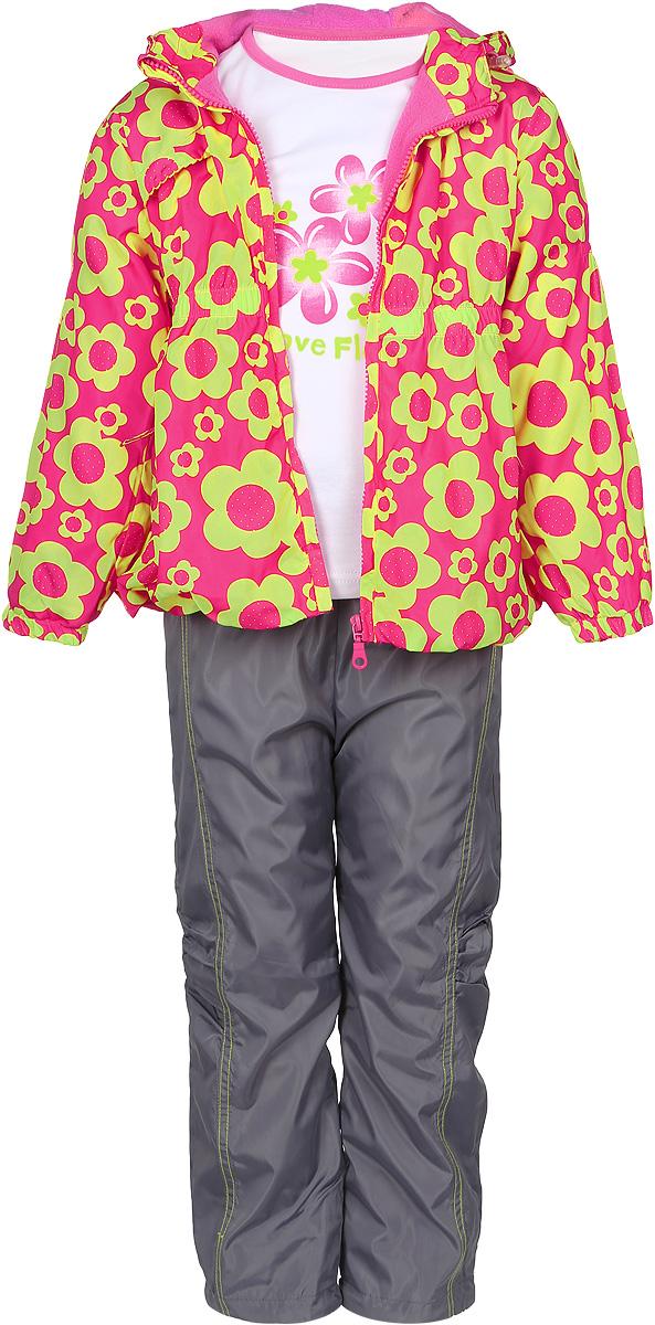 Комплект верхней одежды1561RD-28Яркий комплект для девочки M&D, состоящий из куртки, брюк и футболки с длинным рукавом, подойдет для прохладной погоды. Куртка изготовлена из полиэстера на мягкой флисовой подкладке. Модель с несъемным капюшоном застегивается на пластиковую молнию с защитой подбородка. Капюшон по краю дополнен затягивающимся шнурком со стопперами. Низ рукавов присборен на резинки. Линия талии собрана на широкую резинку. Спереди расположены два прорезных кармана на застежках-молниях. Куртка оформлена ярким цветочным принтом. На капюшоне изделие имеет светоотражающие полоски. Брюки выполнены из полиэстера с подкладкой из натурального хлопка. Модель прямого кроя на талии имеет широкую резинку, благодаря чему брюки не сдавливают животик ребенка и не сползают. Спереди расположены два втачных кармана, сзади - один накладной. По низу брючин предусмотрена утяжка в виде резинок со стопперами. Изделие украшено контрастной прострочкой и аппликацией в виде цветка. Футболка с...