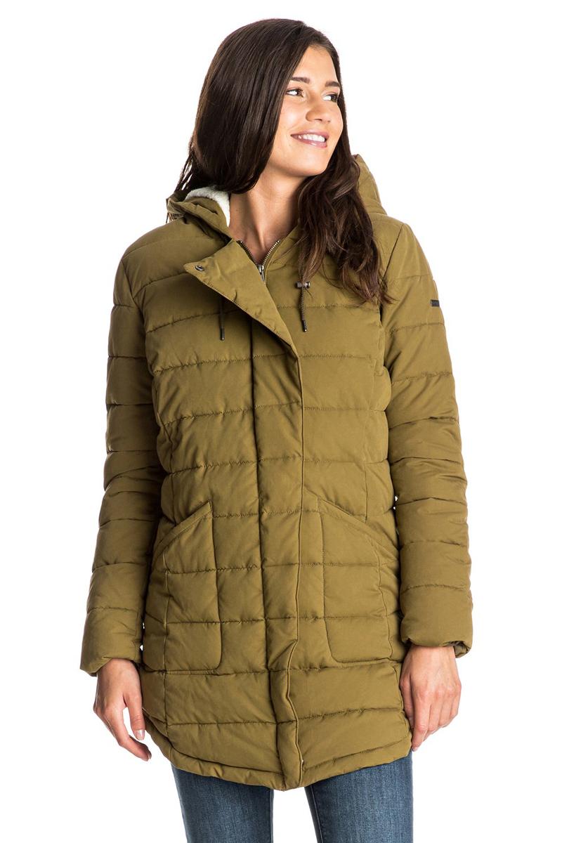 КурткаERJJK03148-CQW0Женская куртка с большим капюшоном выполнена из высококачественного материала. Подкладка из шерпы (включая капюшон). Застегивается асимметрично. Водоотталкивающий материал. Полусвободный крой. Рекомендуемый температурный режим до -15 радиусов.