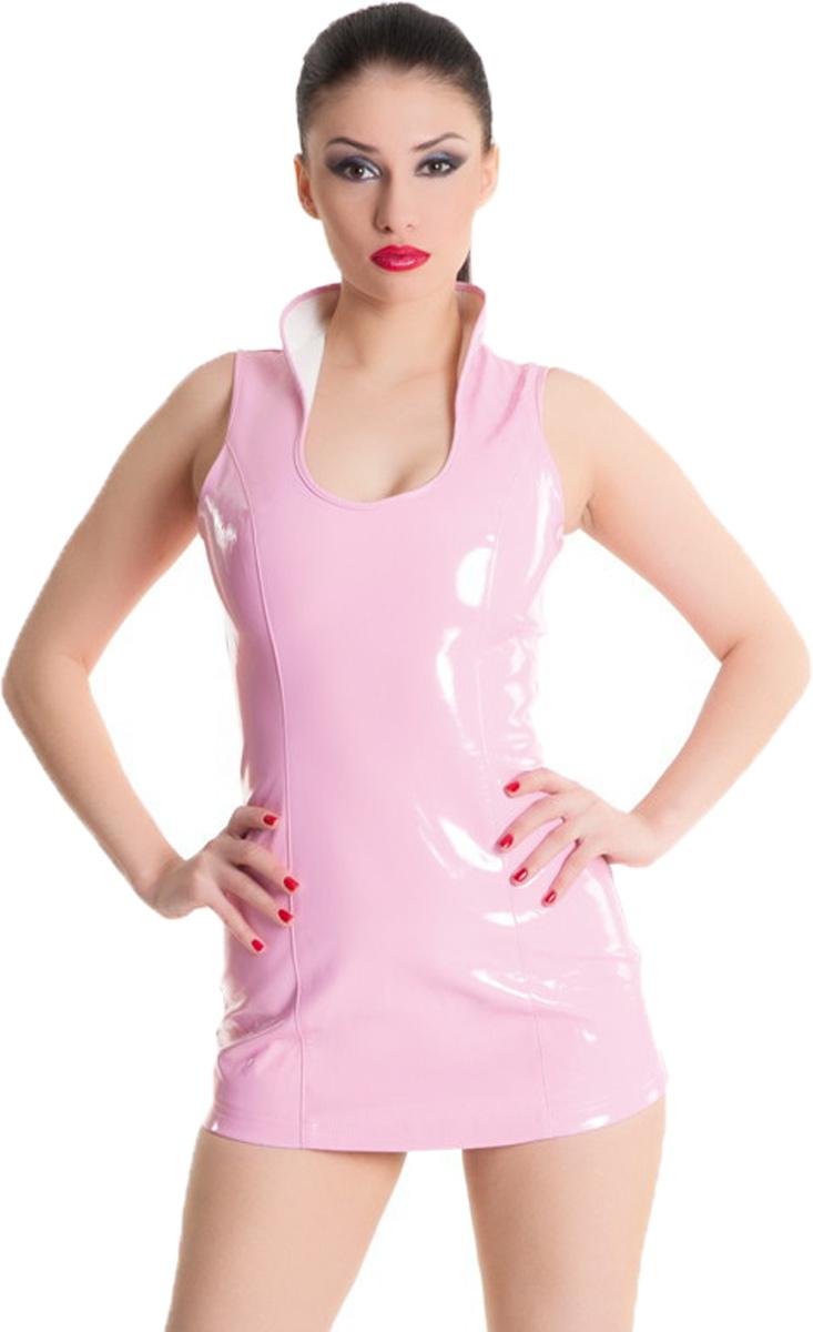 Платье гоу-гоу955002Платье гоу-гоу Erolanta Glossy выполнено из ПВХ и полиэстера. Короткое платье с воротником-стойкой завязывается с помощью атласных лент, которые стилизую заднюю часть модели под корсет.