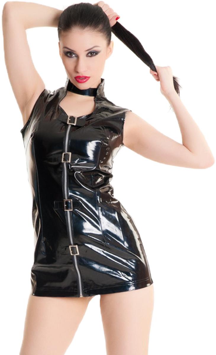 Платье гоу-гоу955003Платье гоу-гоу Erolanta Glossy выполенно из ПВХ и полиэстера. Модель имеет воротник-стойку и вырез на декольте. Изделие застегивается спереди с помощью застежки-молнии и ремешков с металлическими пряжками.
