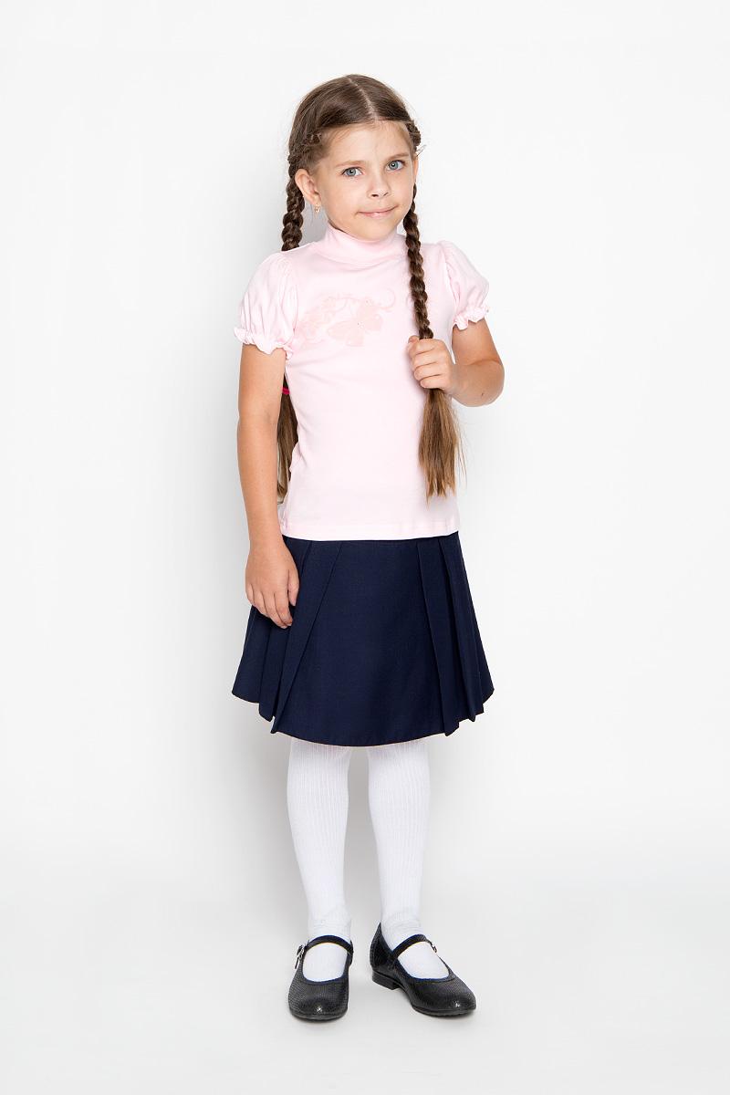 ВодолазкаAW5561A-10Водолазка для девочки M&D идеально подойдет вашей маленькой принцессе. Изготовленная из натурального хлопка, она мягкая и приятная на ощупь, не раздражает нежную кожу ребенка и хорошо вентилируется, а эластичные швы приятны телу ребенка и не препятствуют его движениям. Водолазка с короткими рукавами-фонариками и воротником-стойкой оформлена изображением оригинальной бабочки, декорированным стразами. Воротник выполнен из трикотажной резинки. Современный дизайн и расцветка делают эту водолазку модным и стильным предметом детской одежды. В ней маленькой моднице будет комфортно и уютно!