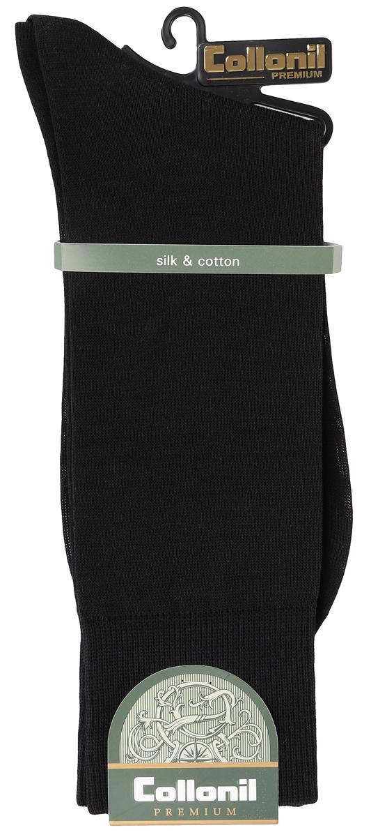 Носки мужские. 150150/01Мужские носки Collonil изготовлены из высококачественного шелка с добавлением хлопка. Материал изделия обеспечивает великолепную посадку на ноге. Шелк обладает исключительными свойствами терморегуляции, он охлаждает когда жарко и держит тепло, когда температура начинает падать. Удлиненная широкая резинка идеально облегает ногу. Носки отличаются элегантным внешним видом. Носки станут отличным дополнением к вашему гардеробу!