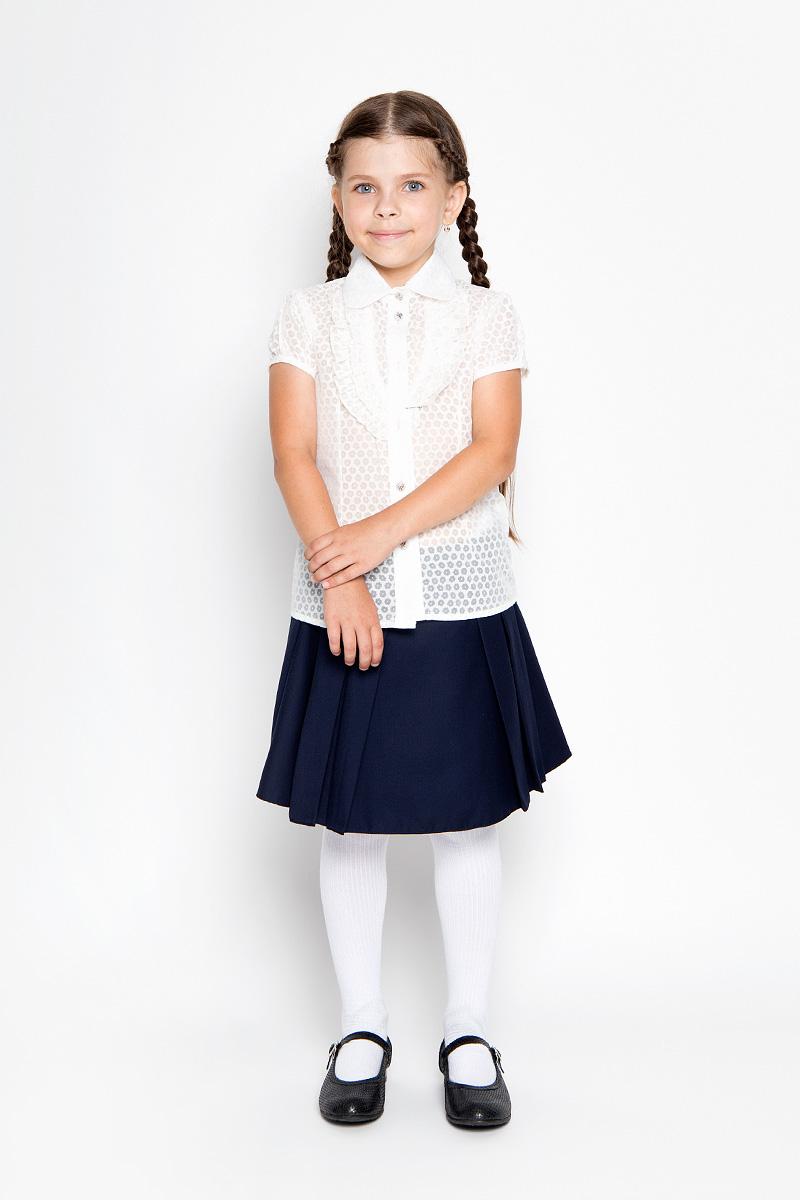 CWR26015A-17Стильная блузка для девочки Sela идеально подойдет вашей дочурке. Изготовленная из хлопка с добавлением полиэстера, она мягкая и приятная на ощупь, не сковывает движения и позволяет коже дышать, обеспечивая наибольший комфорт. Блузка с короткими рукавами-фонариками и отложным воротничком застегивается на пластиковые пуговицы по всей длине. Модель выполнена из тонкого полупрозрачного полотна и оформлена цветочным узором. Современный дизайн и расцветка делают эту блузку стильным предметом детского гардероба. Модель можно носить как с джинсами, так и с классическими брюками.