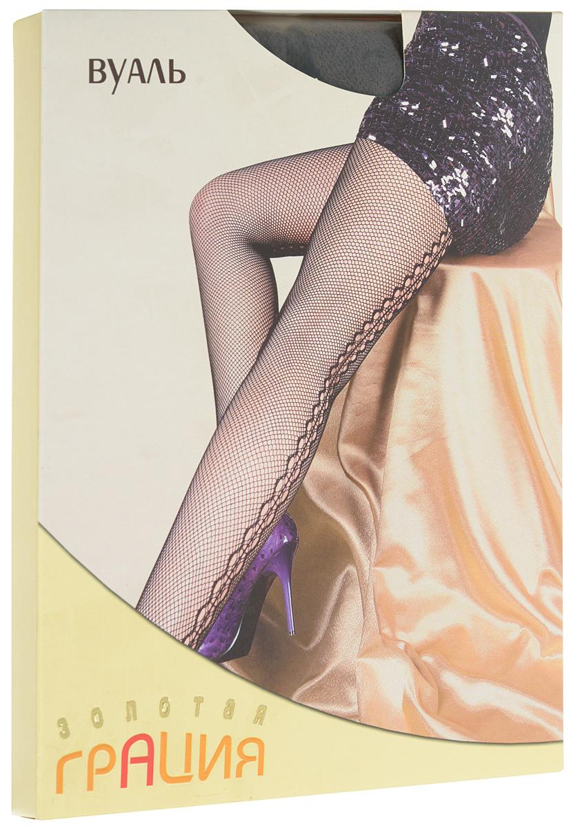 Колготки женские ВуальВуальУльтрамодные фантазийные колготки в сеточку с вертикальным ажурным задним швом. Выполнены по бесшовной технологии, с хлопковой ластовицей и усиленным мыском. Эластичная резинка на поясе плотно облегает талию, обеспечивая комфорт и удобство.