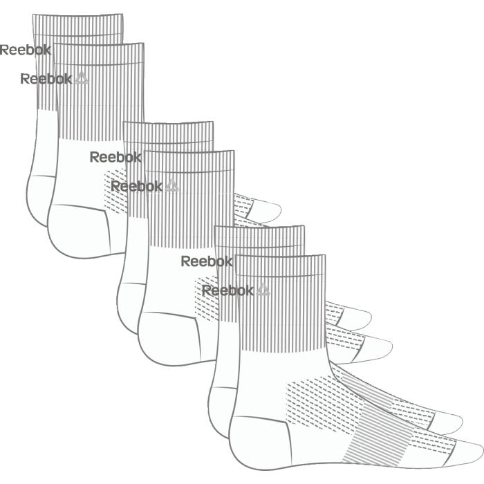 НоскиAJ6245Носки отлично сидят на ноге и эффективно отводят лишнюю влагу. Идеальный вариант как для тренировки, так и для повседневной носки. Дополнительная поддержка свода стопы гарантирует надежную посадку по ноге. Средняя высота для комфорта и надежной поддержке. Отлично сидят на ноге благодаря манжетам в рубчик и дополнительной поддержке свода стопы. Сетчатые вставки обеспечивают вентиляцию. Жаккардовый логотип Reebok контрастной расцветки. Три пары в упаковке.
