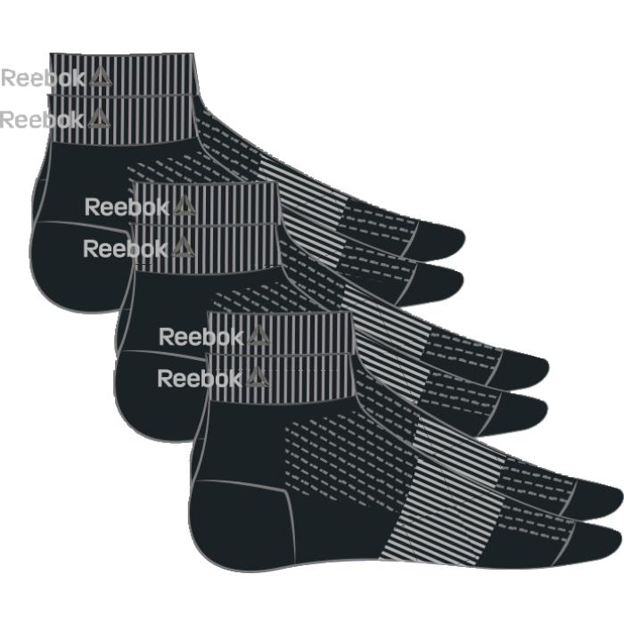 AJ6249Носки отлично сидят на ноге и эффективно отводят лишнюю влагу. Идеальный вариант как для тренировки, так и для повседневной носки. Дополнительная поддержка свода стопы гарантирует надежную посадку по ноге. Длина по щиколотку обеспечивает амортизацию. Отлично сидят на ноге благодаря манжетам в рубчик и дополнительной поддержке свода стопы. Сетчатые вставки обеспечивают вентиляцию. Жаккардовый логотип Reebok контрастной расцветки. Три пары в упаковке.