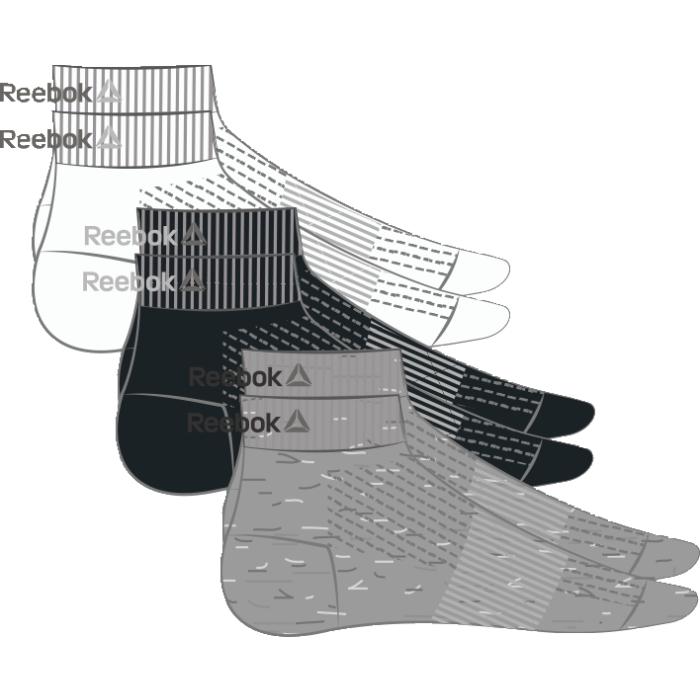 НоскиAJ6249Носки отлично сидят на ноге и эффективно отводят лишнюю влагу. Идеальный вариант как для тренировки, так и для повседневной носки. Дополнительная поддержка свода стопы гарантирует надежную посадку по ноге. Длина по щиколотку обеспечивает амортизацию. Отлично сидят на ноге благодаря манжетам в рубчик и дополнительной поддержке свода стопы. Сетчатые вставки обеспечивают вентиляцию. Жаккардовый логотип Reebok контрастной расцветки. Три пары в упаковке.