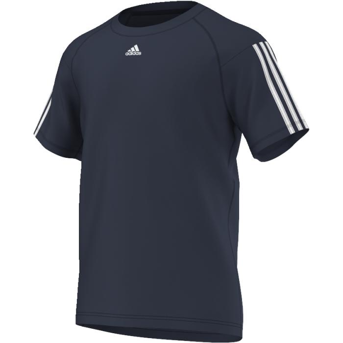 ФутболкаAJ5742Тренируйтесь еще интенсивнее в этой легкой футболке. Модель из переработанного полиэстера дополнена технологией climalite, эффективно отводящей излишки влаги. Три полоски на рукавах и логотип adidas на груди.