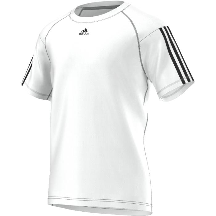 AJ5742Тренируйтесь еще интенсивнее в этой легкой футболке. Модель из переработанного полиэстера дополнена технологией climalite, эффективно отводящей излишки влаги. Три полоски на рукавах и логотип adidas на груди.
