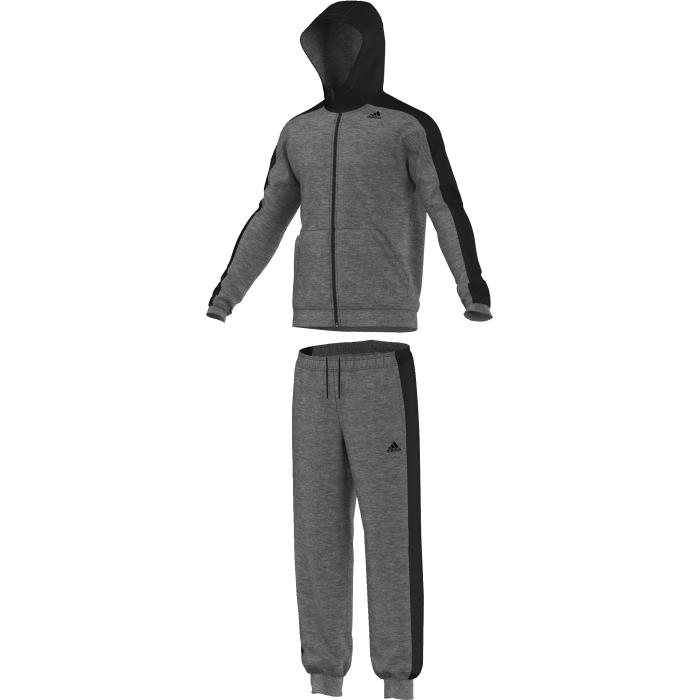 Спортивный костюмAJ6284Удобный спортивный костюм для повседневных тренировок. Для эффективных тренировок очень важно постоянно держать мышцы в тепле. Этот спортивный костюм, выполненный из уютного футра, поможет тебе согреться до и после занятий. Модель классического кроя дополнена капюшоном и вместительным карманами-кенгуру. Толстовка: карманы-кенгуру, застежка на молнию, контрастный капюшон и вставки на рукавах, принт adidas на груди. Брюки: боковые карманы, эластичный пояс на регулируемых завязках-шнурках, контрастные вставки по бокам.