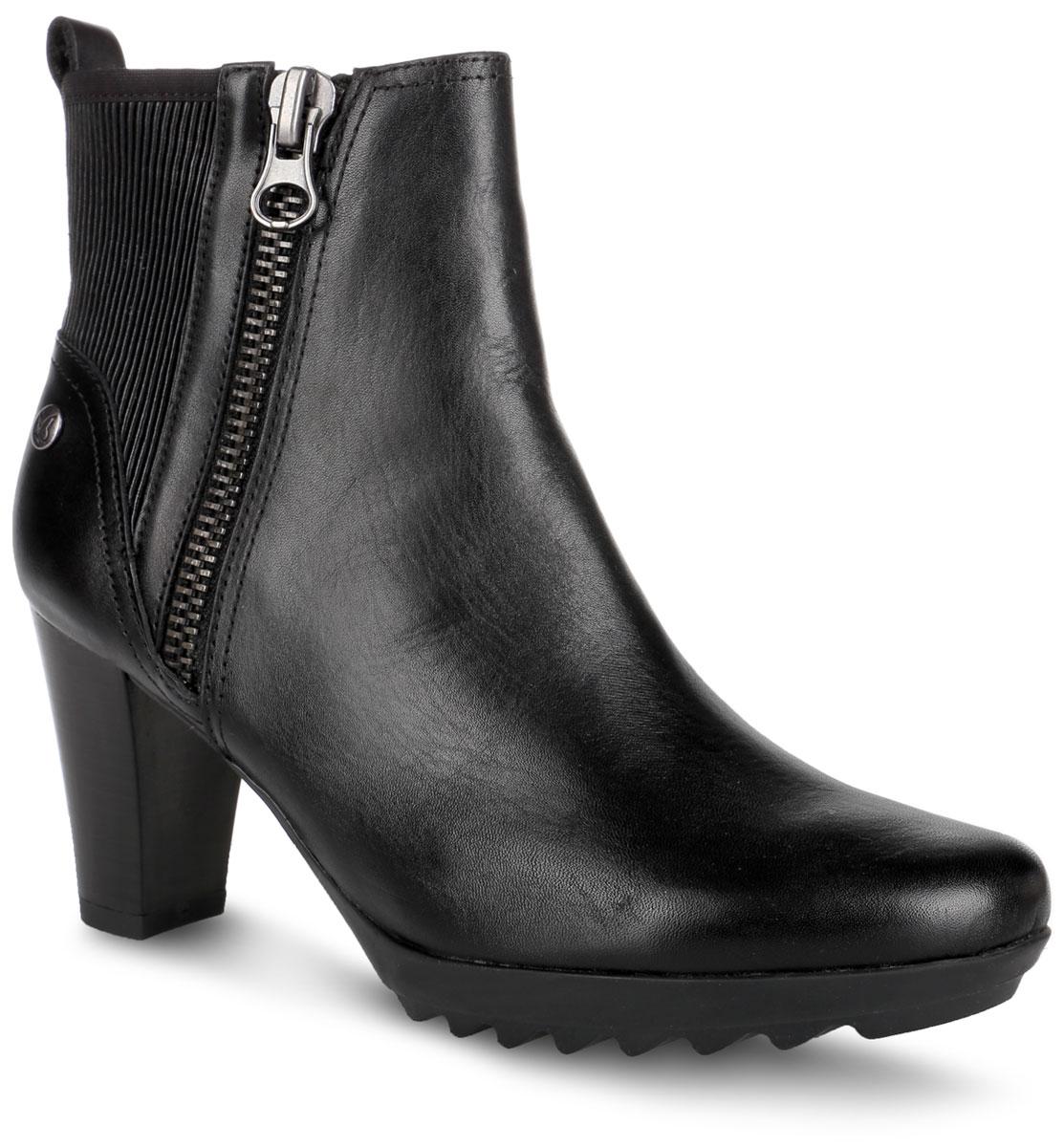 9-9-25407-27-019Стильные ботильоны от Сарriсе не оставят равнодушной настоящую модницу! Модель выполнена из натуральной кожи и оформлена сбоку декоративной молнией. Задняя часть модели с внутренней стороны дополнена эластичной резинкой, которая обеспечивает идеальную посадку модели на ноге. Подкладка и стелька из мягкого текстиля не дадут ногам замерзнуть. Непревзойденное удобство и комфорт обеспечивает уникальная запатентованная технология On Air Insole, которая благодаря воздушным камерам в стельке способствует испарению излишней влаги и улучшению воздухообмена. Также воздушные камеры снижают давление на стопу, благодаря этому исчезают симптомы усталости, и производится оздоровительный массаж стопы. Застегивается модель на боковую застежку-молнию. Высокий каблук невероятно устойчив. Подошва с протектором обеспечивает отличное сцепление с любой поверхностью. Такие ботильоны отлично подчеркнут ваш стиль и индивидуальность.