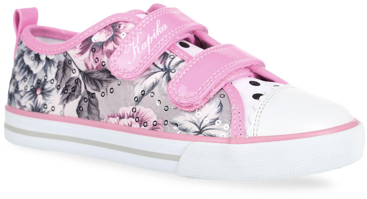 73230-1Прелестные кеды от Kapika заинтересуют вашу девочку с первого взгляда. Модель, выполненная из текстиля и искусственной кожи, оформлена цветочным принтом и пайетками, на подошве - контрастными полосками. Язычок оформлен принтом в горох, мыс защищен вставкой из искусственной кожи. Ремешки с застежками-липучками надежно зафиксируют обувь на ноге. Внутренняя поверхность из текстиля не натирает. Анатомическая стелька из материала ЭВА с поверхностью из натуральной кожи оснащена супинатором с перфорацией, который обеспечивает правильное положение стопы ребенка при ходьбе и предотвращает плоскостопие. Стелька эффективно поглощает влагу и неприятные запахи, обеспечивает воздухопроницаемость и отличную амортизацию. Подошва с рифлением обеспечивает сцепление с любой поверхностью. Модные кеды - незаменимая вещь в гардеробе каждой девочки!
