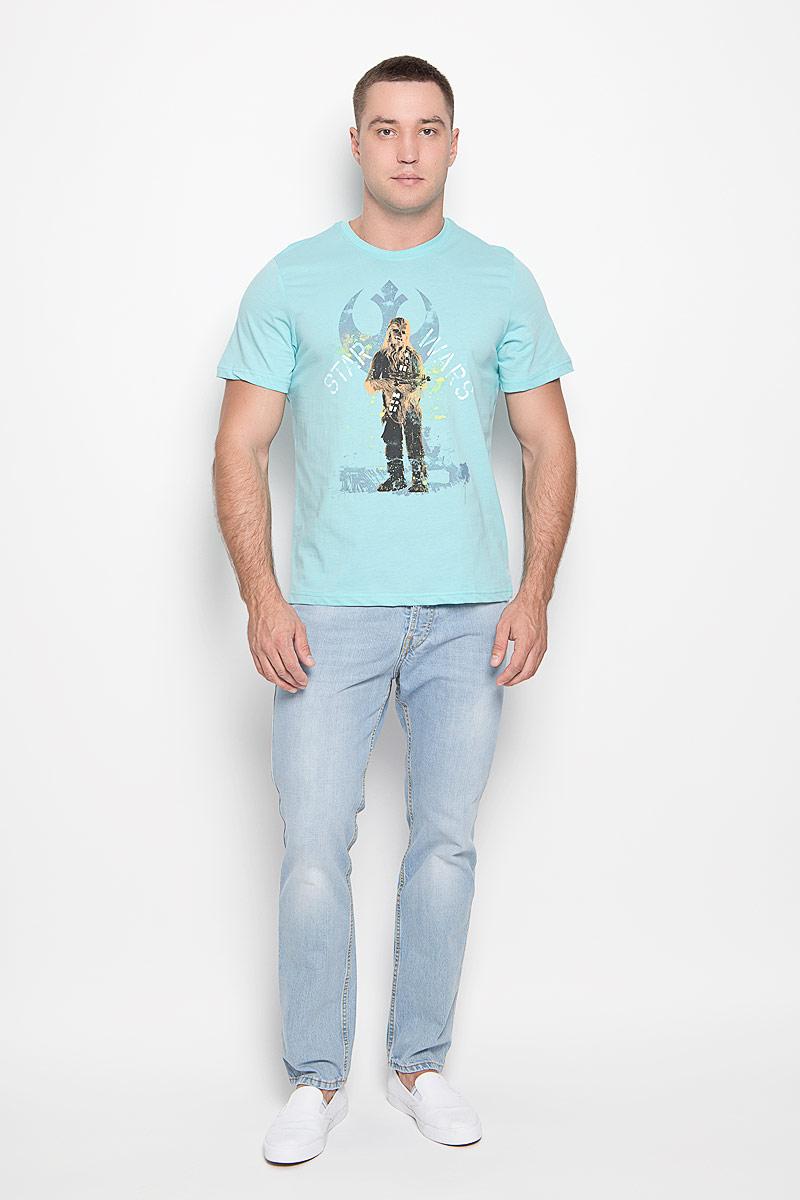 Футболка мужская Star Wars. 4297442974Оригинальная мужская футболка RHS Star Wars, выполненная из высококачественного хлопка, обладает высокой теплопроводностью, воздухопроницаемостью и гигроскопичностью, позволяет коже дышать. Модель с короткими рукавами и круглым вырезом горловины, оформлена принтом спереди на тему культовой фантастической саги Звездные войны. Горловина дополнена эластичной трикотажной резинкой. Идеальный вариант для тех, кто ценит комфорт и качество.