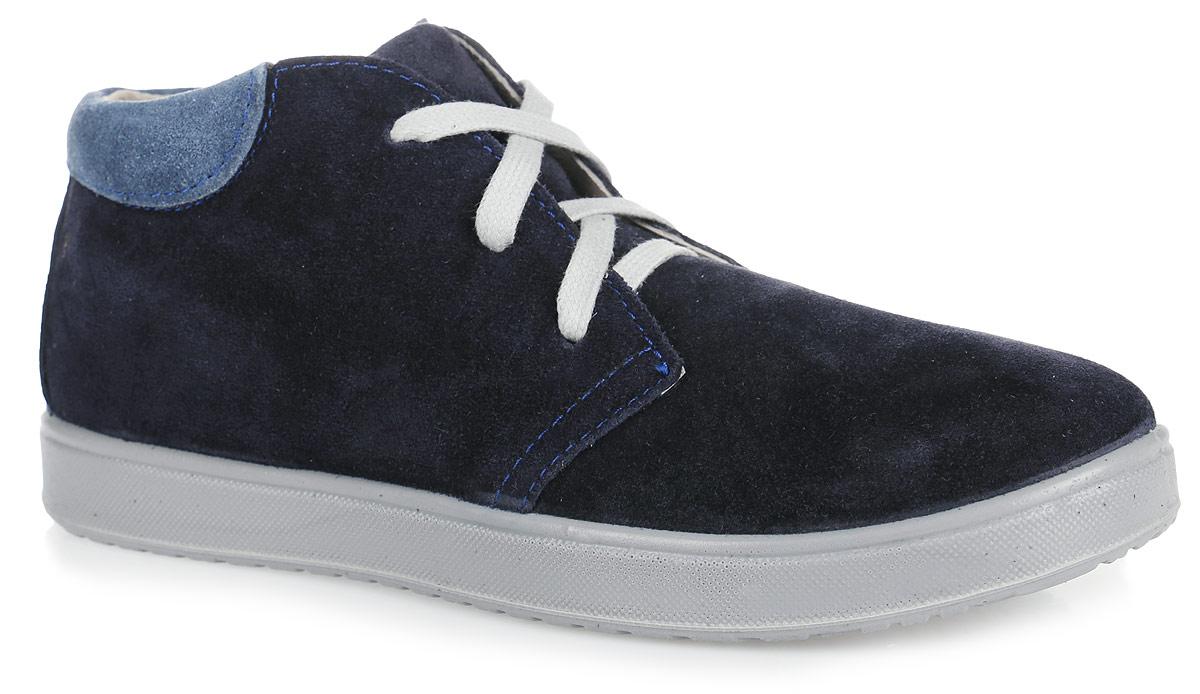 Ботинки для мальчика. 652068-21652068-21Модные ботинки от Котофей выполнены в спортивном стиле на кедовой подошве. Модель изготовлена из натуральной кожи. Шнуровка надежно зафиксирует модель на ноге. Боковая застежка-молния позволяет легко снимать и надевать модель. Кожаная подкладка абсорбирует образующуюся внутри обуви влагу и гарантирует полный комфорт. Подошва имеет анатомическую форму следа и в точности повторяет изгибы свода стопы, что позволяет ноге чувствовать себя комфортно весь день. В таких ботинках ножкам вашего мальчика всегда будет комфортно и уютно!