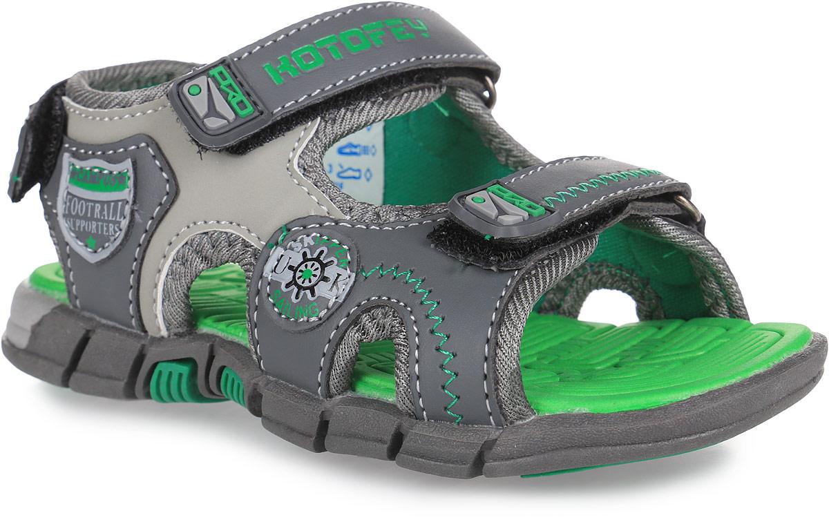 Сандалии для мальчика. 323052323052-11Стильные сандалии Котофей не оставят равнодушным вашего мальчика! Модель, изготовленная из искусственной кожи, оформлена декоративной прострочкой, сбоку - оригинальными нашивками. Ремешки с застежками-липучками, оформленные нашивками из ПВХ, прочно закрепят модель на ножке и отрегулируют нужный объем. Подкладка выполнена из текстиля. Стелька, выполненная из материала ЭВА с рельефной поверхностью, комфортна при ходьбе. Легкая и гибкая подошва из материала ТЭП с рифлением обеспечивает сцепление с любой поверхностью. Практичные и стильные сандалии займут достойное место в гардеробе вашего мальчика.