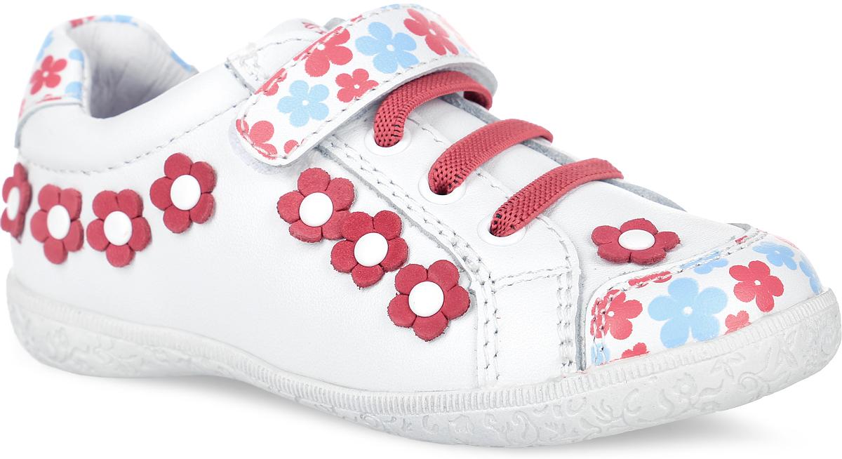 22269-2Роскошные полуботинки от Kapika придутся по душе вашей девочке! Модель выполнена из натуральной высококачественной кожи с цветочным принтом, оформлена декоративными элементами в виде цветов. Эластичные шнурки и ремешок на застежке-липучке отвечают за комфортную посадку модели на ноге. Подкладка и стелька, изготовленные из натуральной кожи, предотвратят натирание и гарантируют уют. Стелька дополнена супинатором с перфорацией, который обеспечивает правильное положение ноги ребенка при ходьбе, предотвращает плоскостопие. Анатомическая стелька обеспечивает воздухопроницаемость, отличную амортизацию и сохранение комфортного микроклимата обуви. Рифленая поверхность подошвы гарантирует отличное сцепление с любыми поверхностями. Удобные полуботинки - незаменимая вещь в гардеробе каждого ребенка.