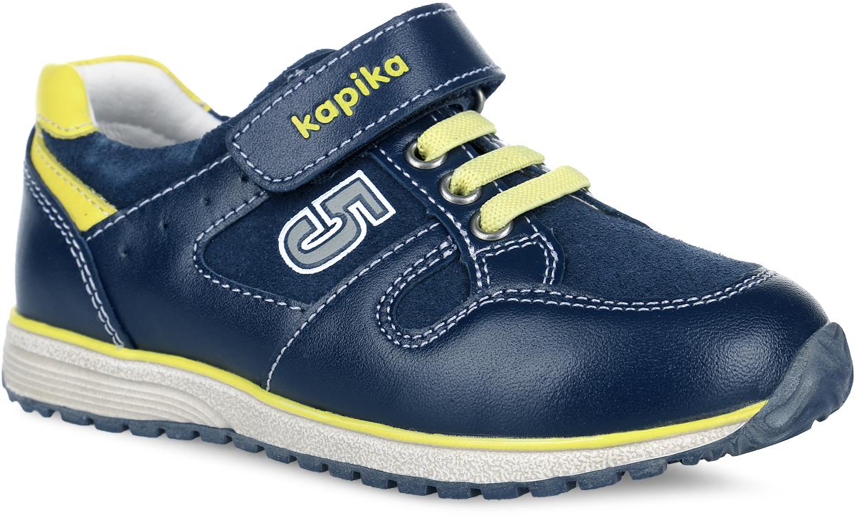 22336-1Стильные полуботинки от Kapika придутся по душе вашему моднику! Модель выполнена из натуральной кожи разной фактуры, оформлена прострочкой, перфорацией по бокам, цифрой 5 сбоку и названием бренда на ремешке. Эластичная шнуровка и ремешок на застежке-липучке надежно зафиксируют изделие на ножке ребенка. Подкладка и верхняя поверхность стельки, изготовленные из натуральной кожи, предотвратят натирание и гарантируют уют. Стелька из ЭВА материала дополнена супинатором с перфорацией, который обеспечивает правильное положение ноги ребенка при ходьбе и предотвращает плоскостопие. Анатомическая стелька обладает повышенной гигроскопичностью, обеспечивает воздухопроницаемость и дополнительную амортизацию при ходьбе. Подошва оснащена рифлением для лучшего сцепления с различными поверхностями. Удобные и модные полуботинки - незаменимая вещь в гардеробе каждого мальчика.