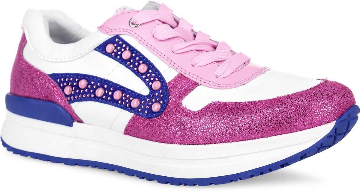Кроссовки для девочки. 24364-224364-2Яркие кроссовки от Kapika придутся по душе вашей девочке. Модель, выполненная из натуральной и искусственной кожи, оформлена цветными вставками с блестящей поверхностью, а также стразами и декоративными элементами сбоку. Шнуровка обеспечивает надежную фиксацию обуви на ноге. Подкладка и верхняя часть стельки, выполненные из натуральной кожи, обеспечивают комфорт и предотвращают натирание. Стелька из ЭВА материала дополнена супинатором с перфорацией, который обеспечивает максимальную устойчивость ноги при ходьбе, правильное формирование стопы и снижение общей утомляемости ног. Подошва с рифлением гарантирует идеальное сцепление с любой поверхностью. Стильные кроссовки - незаменимая вещь в гардеробе каждой девочки!