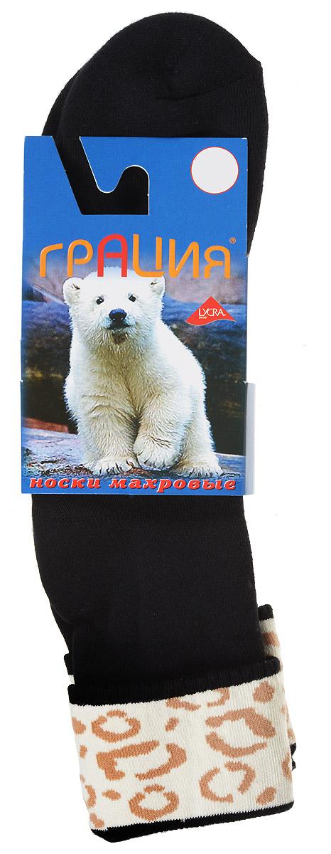 М 1081Теплые женские носки Грация, изготовленные из высококачественного комбинированного материала, очень мягкие и приятные на ощупь, позволяют коже дышать. Эластичная резинка плотно облегает ногу, не сдавливая ее, обеспечивая комфорт и удобство. Махровые носки со стандартным паголенком, который оформлен небольшим отворотом с ярким принтом. Удобные и комфортные носки великолепно подойдут к любой вашей обуви.