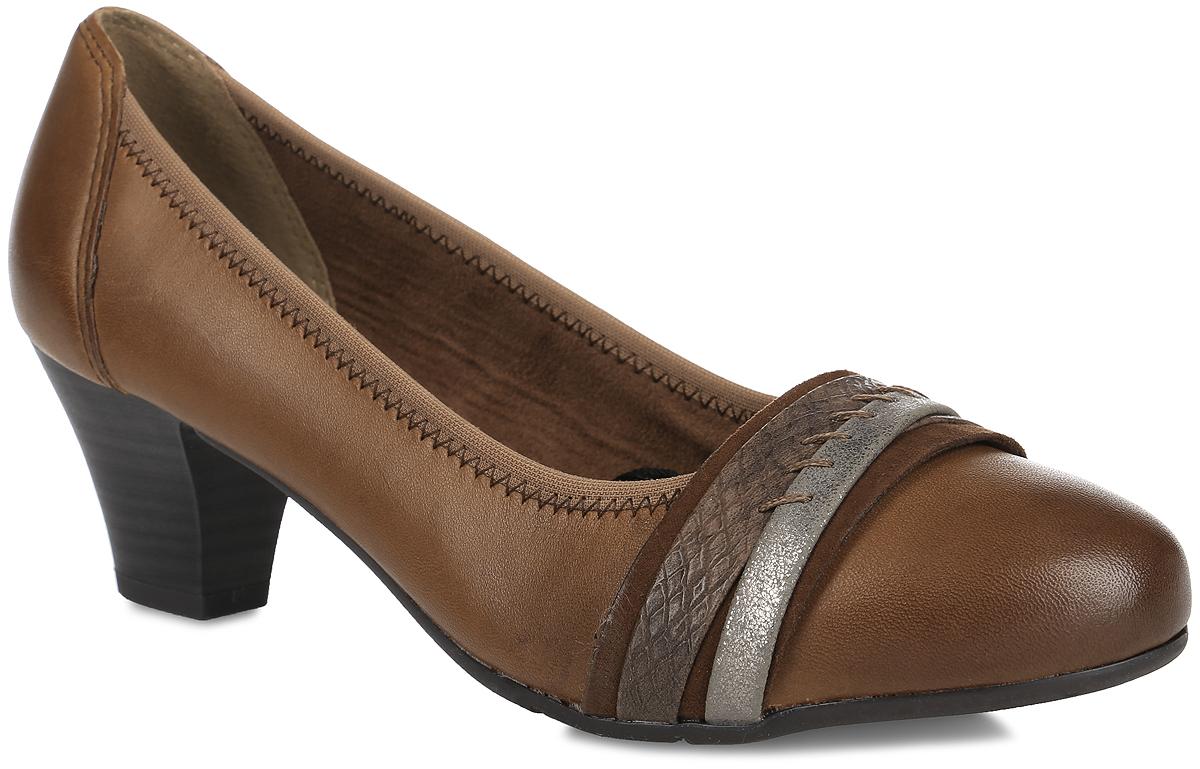 Туфли женские. 8-8-22300-27-3538-8-22300-27-353Стильные туфли от Jana не оставят равнодушной настоящую модницу! Модель выполнена из натуральной кожи и оформлена текстильным кантом. Мыс оформлен декоративным ремешком. Закругленный носок добавляет женственности. Подкладка из текстиля и искусственного материала не натирает. Стелька из искусственной кожи обеспечивает максимальный комфорт. Каблук умеренной высоты невероятно устойчив. Подошва с технологией Soft Flex легкая и очень гибкая, благодаря использованию специальных материалов и уникальной конструкции. Каблук и подошва с рифлением обеспечивают идеальное сцепление с любыми поверхностями. Элегантные туфли внесут изысканные нотки в ваш образ и подчеркнут вашу утонченную натуру.