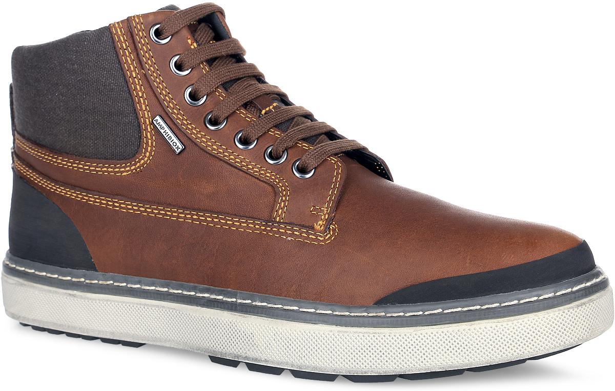 Ботинки мужские. U44T1B-00046-C6000U44T1B-00046-C6000Стильные мужские ботинки от Geox с закруглённым мыском покорят вас своим удобством. Модель выполнена из натуральной кожи и дополнена вставками из текстиля. Обувь оформлена контрастной прострочкой, фирменной нашивкой на язычке и металлической пластиной с гравировкой на тыльной стороне. Вдоль ранта ботинки дополнены крупной прострочкой. Классическая шнуровка надежно фиксирует модель на ноге. Ярлычок на заднике облегчает обувание модели. Мыс и задник защищены резиновыми накладками. Комбинированная подкладка из натуральной кожи сверху и сетчатого текстиля в нижней части создают комфорт и уют при носке. Стелька из ЭВА материала с текстильной поверхностью дополнена небольшим супинатором и перфорацией. Перфорированная подошва выполнена по инновационной системе Respira, которая способствует потовыведению, создавая идеальный микроклимат внутри обуви. Подошва с рельефным протектором обеспечивает отличное сцепление на любой поверхности. Такие ботинки подчеркнут ваш стиль и...