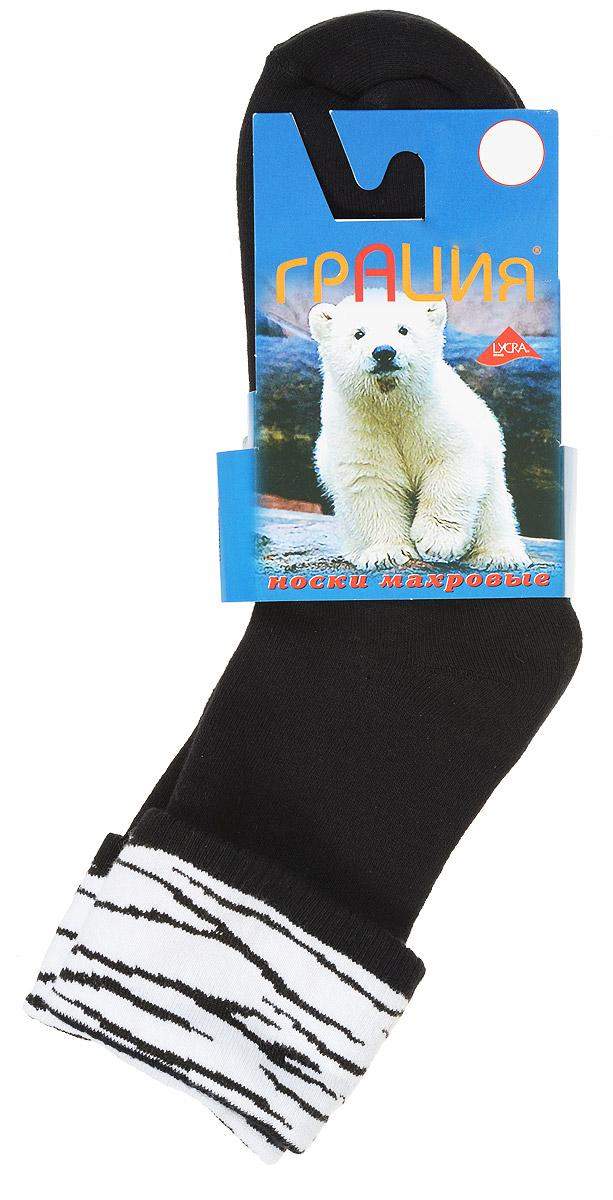 НоскиМ 1081Теплые женские носки Грация, изготовленные из высококачественного комбинированного материала, очень мягкие и приятные на ощупь, позволяют коже дышать. Эластичная резинка плотно облегает ногу, не сдавливая ее, обеспечивая комфорт и удобство. Махровые носки со стандартным паголенком, который оформлен небольшим отворотом с ярким принтом. Удобные и комфортные носки великолепно подойдут к любой вашей обуви.