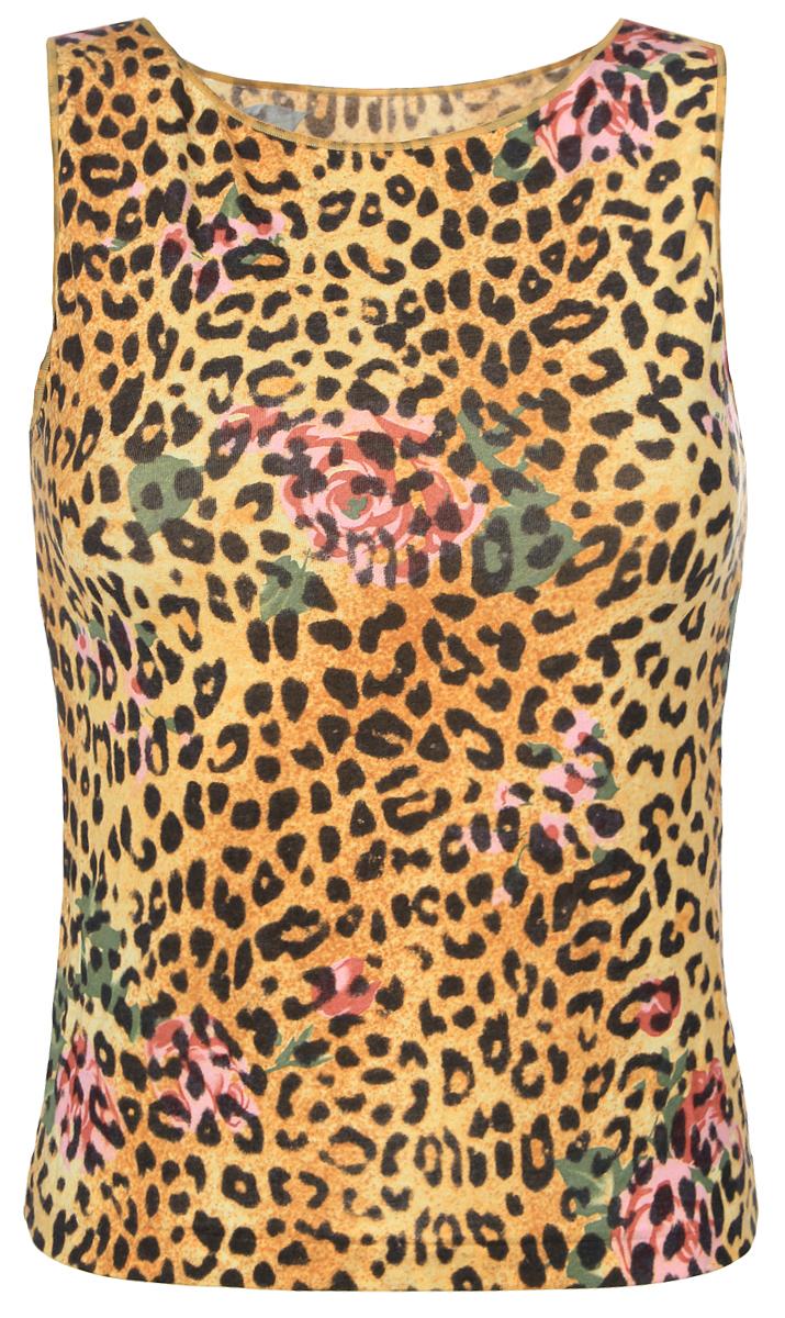 МайкаБриджитЖенская майка Золотая Грация Бриджит идеально подойдет для повседневной носки. Изделие выполнено из нежного шелковистого полотна нового поколения с эффектом персиковой кожи. Материал тактильно приятный, не сковывает движения и хорошо пропускает воздух. Майка на широких бретелях с круглым вырезом горловины имеет слегка приталенный силуэт. Модель оформлена леопардовым и цветочным принтами. Майка будет дарить вам комфорт в течение всего дня и станет отличным дополнением к вашему гардеробу.