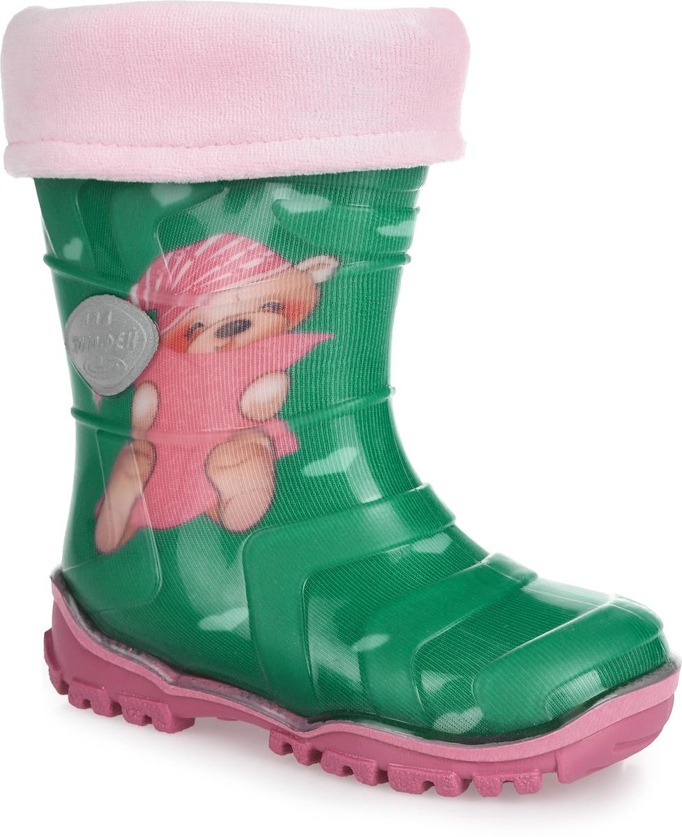 Резиновые сапоги для девочки. 266012-11266012-11Яркие резиновые сапожки Котофей для девочки - идеальная обувь в дождливую погоду. Модель выполнена из резины и ПВХ. Она оформлена принтом с маленькими сердечками, изображением милого медвежонка и вставкой с названием бренда. Сапоги дополнены съемной утепленной текстильной подкладкой, которая обеспечивает полный уют и комфорт при носке. Утолщенная рельефная подошва из ПВХ выполнена с высокой устойчивостью к истиранию. Стильные и практичные резиновые сапожки прекрасно защитят ножки вашего ребенка от промокания в дождливый день.