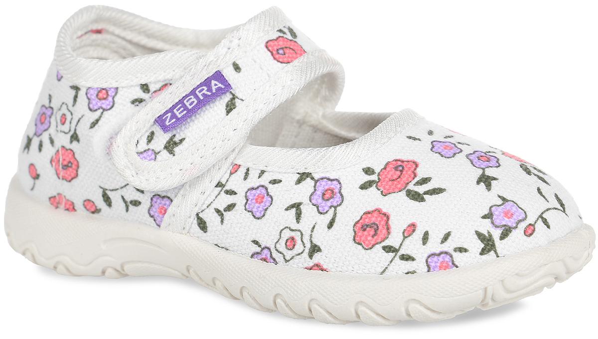 Туфли для девочки. 3-114TF3-114TFПрелестные туфли от Зебра очаруют вашу девочку с первого взгляда! Модель, выполненная из текстиля, оформлена цветочным принтом. Ремешок с застежкой-липучкой надежно зафиксирует модель на ноге. Подкладка из текстиля не натирает. Стелька из материала ЭВА с поверхностью из натуральной кожи обеспечит ножкам ребенка комфорт. Рельефная стелька оснащена супинатором, который обеспечивает правильное положение стопы ребенка при ходьбе и предотвращает плоскостопие. Рифление на подошве гарантирует идеальное сцепление с любой поверхностью. Такие туфли идеально подойдут в качестве сменной обуви, как для дома, так и для детского сада.