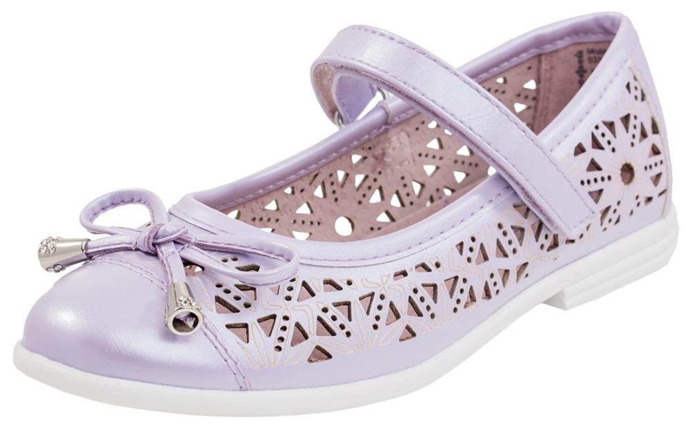 533007-22Туфли-балетки для девочки из натуральной кожи. Снабжены сквозной перфорацией, что способствует воздухообмену и комфорту при ходьбе. Идеальнадля теплой летней погоды и в качестве сменной обуви