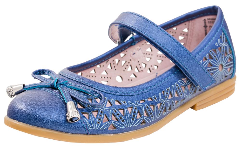 533007-21Туфли-балетки для девочки из натуральной кожи. Снабжены сквозной перфорацией, что способствует воздухообмену и комфорту при ходьбе. Идеальнадля теплой летней погоды и в качестве сменной обуви