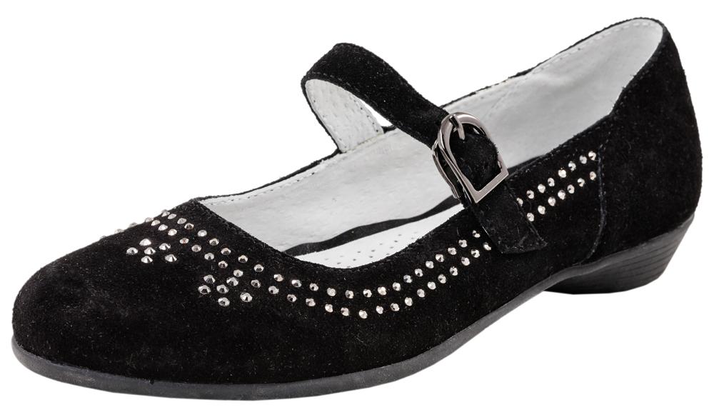 Туфли для девочки. 532128-22532128-22Нарядные туфли выполнены из натуральной кожи. Модель крепится на ноге при помощи ремня с застежкой-крючком. Подошва модели клеевая, дополнена невысокой каблучком. Стелька из натуральной кожи, дублированная мягким вспененным материалом, обладает свойствами гигроскопичности и воздухопроницаемости, что обеспечит полный комфорт ножке в течение всего дня.