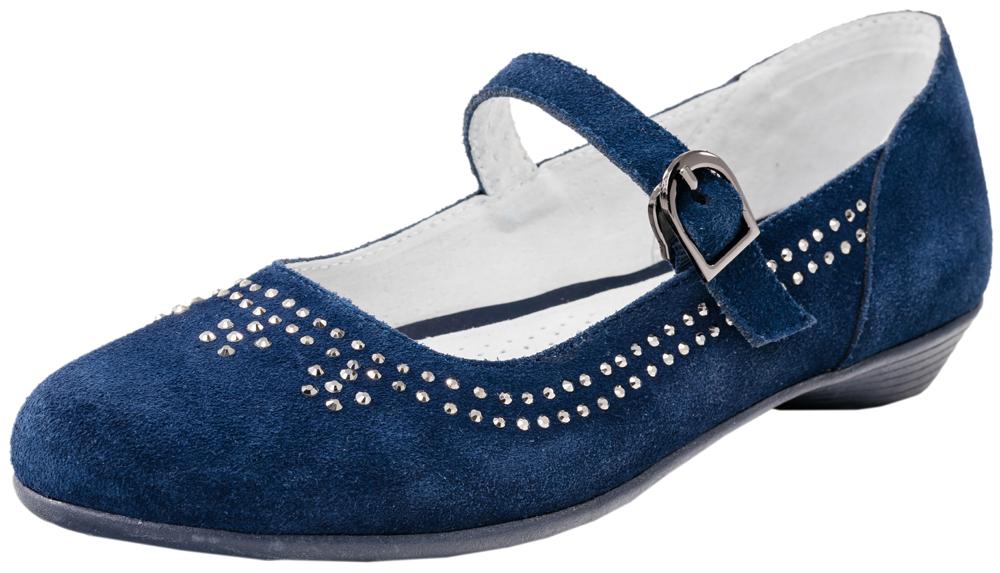 Туфли для девочки. 532128-21532128-21Нарядные туфли выполнены из натуральной кожи. Модель крепится на ноге при помощи ремня с застежкой-крючком. Подошва модели клеевая, дополнена невысокой каблучком. Стелька из натуральной кожи, дублированная мягким вспененным материалом, обладает свойствами гигроскопичности и воздухопроницаемости, что обеспечит полный комфорт ножке в течение всего дня.