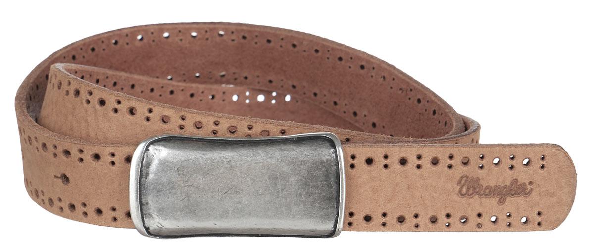 РеменьW0A56US81Стильный женский ремень Wrangler станет отличным дополнением к вашему образу. Ремень изготовлен из натуральной коровьей кожи и оформлен декоративной перфорацией. Пряжка, выполненная из качественной стали и оформленная чернением, позволит отрегулировать длину ремня. Такой оригинальный ремень превосходно подчеркнет ваш стиль и индивидуальность.