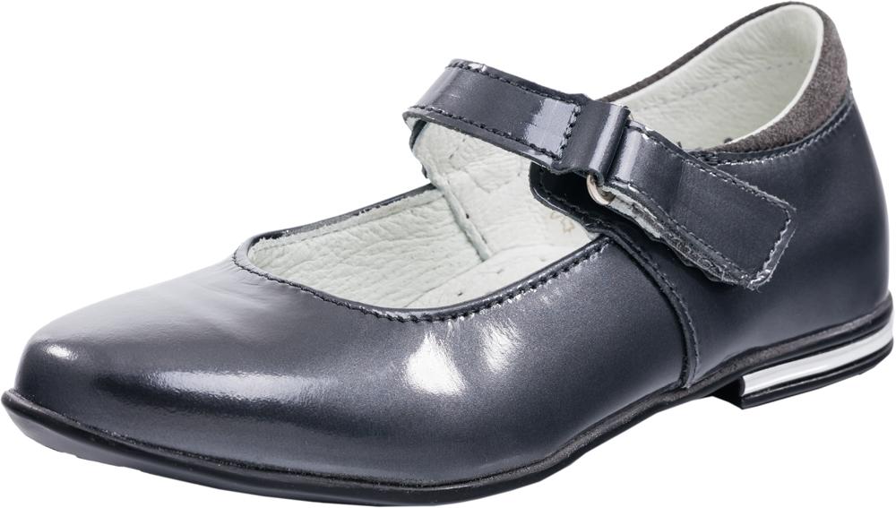 Туфли для девочки. 532123-22532123-22Классические туфли лаконичного дизайна. Модель выполнена из натуральной кожи с естественной лицевой поверхностью, специальной блестящей отделкой и обладает эффектом ломаной разбивки, что не является дефектом в обуви, а является особенностью данного кожтовара. Модель крепится на ноге при помощи ремня с застежкой велькро. Подошва модели клеевая, дополнена небольшим каблучком. Стелька из натуральной кожи, дублированная мягким вспененным материалом, обладает свойствами гигроскопичности и воздухопроницаемости, что обеспечит полный комфорт ножке в течение всего дня. Украшение на ремне в виде атласного банта придает модели нарядности.