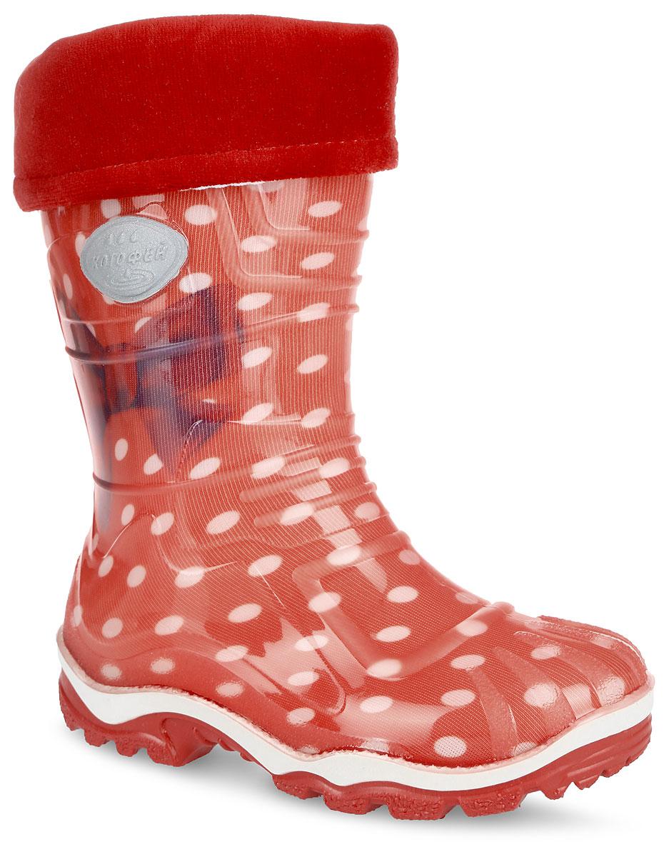 566110-11Яркие резиновые сапоги от Котофей - идеальная обувь в дождливую погоду для вашей девочки. Верх модели выполнен из резины. Модель оформлена принтом в горох и изображением бантика. Сапоги дополнены съемным текстильным носком, который обеспечивает тепло и комфорт при носке. Подошва из ПВХ с протектором гарантирует идеальное сцепление с любой поверхностью. Стильные и практичные резиновые сапожки прекрасно защитят ножки вашего ребенка от промокания в дождливый день.
