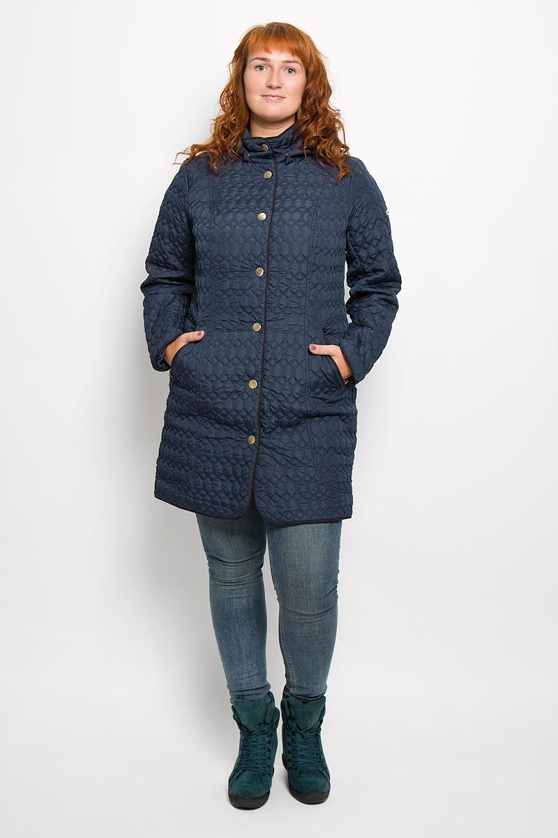 ПальтоA16-12000_101Удобное женское пальто Finn Flare согреет вас в прохладную погоду и позволит выделиться из толпы. Модель с длинными рукавами и воротником-стойкой выполнена из прочного полиэстера, застегивается на кнопки спереди. Пальто имеет съемный капюшон на кнопках, объем которого регулируется при помощи шнурка-кулиски со стопперами. Изделие дополнено двумя втачными карманами на застежках-молниях спереди. Пальто оформлено стеганым узором. Наполнитель из синтепона надежно сохранит тепло, благодаря чему такое пальто защитит вас от ветра и холода. Это модное и в то же время комфортное пальто - отличный вариант для прогулок, оно подчеркнет ваш изысканный вкус и поможет создать неповторимый образ.