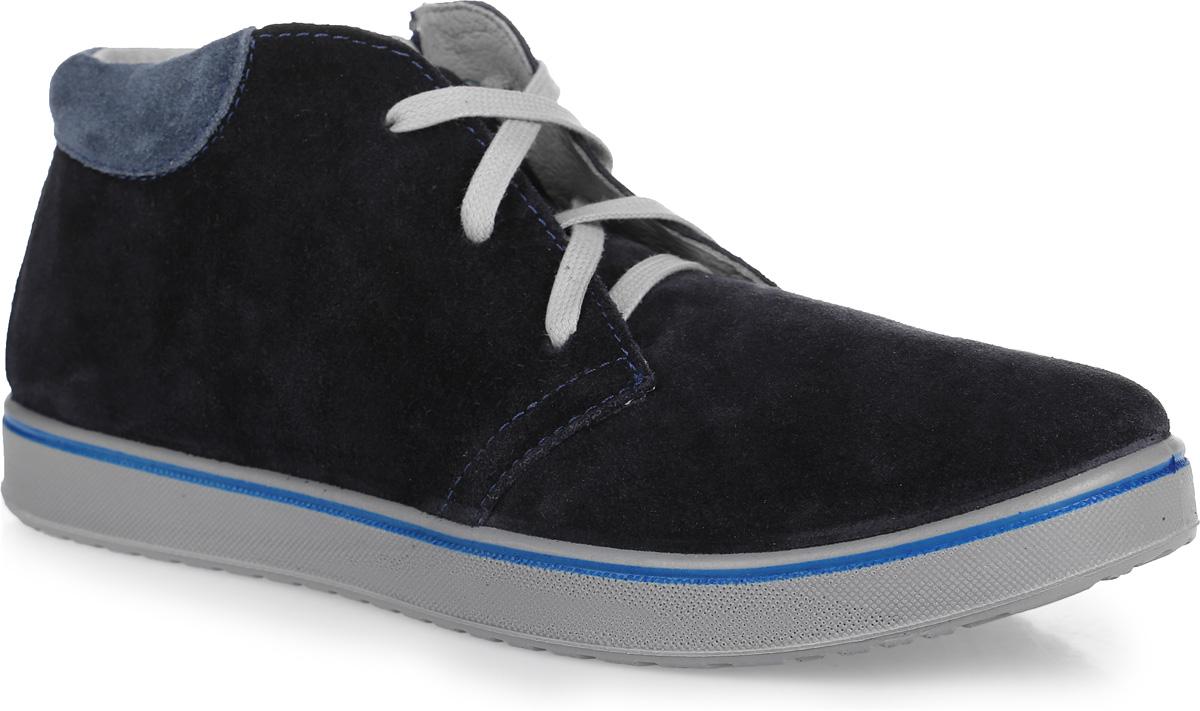 Ботинки для мальчика. 752063-21752063-21Стильные легкие ботинки Котофей не оставят вашего мальчика равнодушным. Модель изготовлена из натуральной велюровой кожи. Модель стилизована под кеды. Кожаная подкладка абсорбирует образующуюся внутри обуви влагу и гарантирует полный комфорт. Шнуровка обеспечит идеальную фиксацию обуви на стопе. Мягкий манжет создает комфорт при ходьбе и предотвращает натирание ноги ребенка. Стелька из натуральной кожи дополнена небольшим супинатором с перфорацией, который обеспечивает правильное положение стопы ребенка при ходьбе и предотвращает плоскостопие. Рифленая подошва, выполненная ПУ-материала, обеспечит отличное сцепление с любой поверхностью. Стильные и практичные ботинки займут достойное место в гардеробе вашего мальчика.