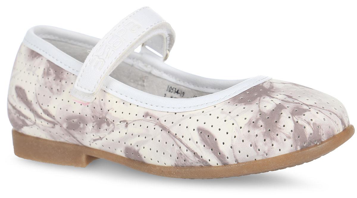 10534-19Чудесные туфли от Зебра придутся по душе вашей юной моднице! Модель выполнена из искусственной кожи, оформленной оригинальным принтом и перфорацией по всей поверхности. Широкий, устойчивый каблук продлен с внутренней стороны до середины стопы, чтобы исключить заваливание стопы вовнутрь. Ремешок на застежке-липучке надежно зафиксирует изделие на ножке ребенка. Подкладка выполнена из натуральной кожи, что предотвращает натирание и гарантирует уют. Стелька из ЭВА материала с поверхностью из натуральной кожи оснащена небольшим супинатором с перфорацией, который обеспечивает правильное положение ноги ребенка при ходьбе, предотвращает плоскостопие. Подошва оснащена рифлением для лучшего сцепления с различными поверхностями. Удобные туфли - незаменимая вещь в гардеробе каждой девочки.