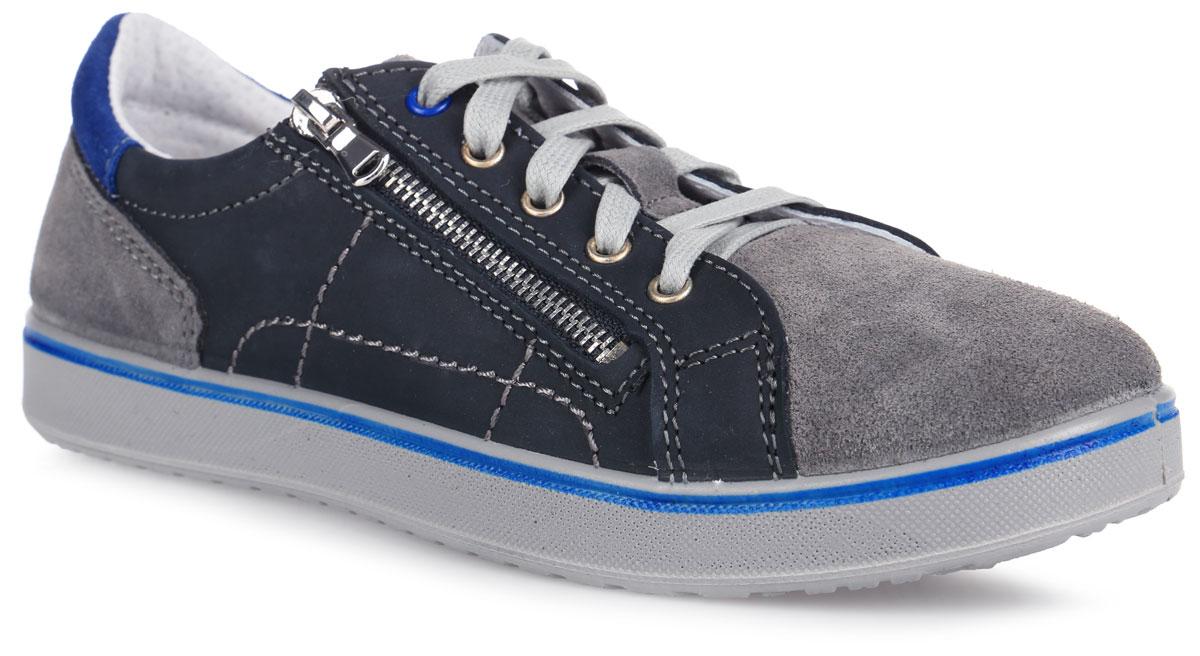 Кроссовки для мальчика. 732115732115-22Стильные кроссовки от Котофей очаруют вашего мальчика с первого взгляда! Модель выполнена из качественной натуральной кожи. Классическая шнуровка надежно зафиксирует изделие на ноге. Боковая застежка-молния позволяет легко снимать и обувать модель. Внутренняя поверхность из натуральной кожи не натирает. Стелька из материала ЭВА с поверхностью из натуральной кожи комфортна при движении. Внутренняя форма обуви имеет анатомическую форму следа уже в подошве и в точности повторяет изгибы свода стопы. Она поддерживает продольный и поперечный своды, обеспечивает оптимальную стабильность и фиксацию пяточной части. Рифленая поверхность подошвы обеспечивает отличное сцепление с любой поверхностью. Стильные кроссовки - незаменимая вещь в гардеробе каждого мальчика!