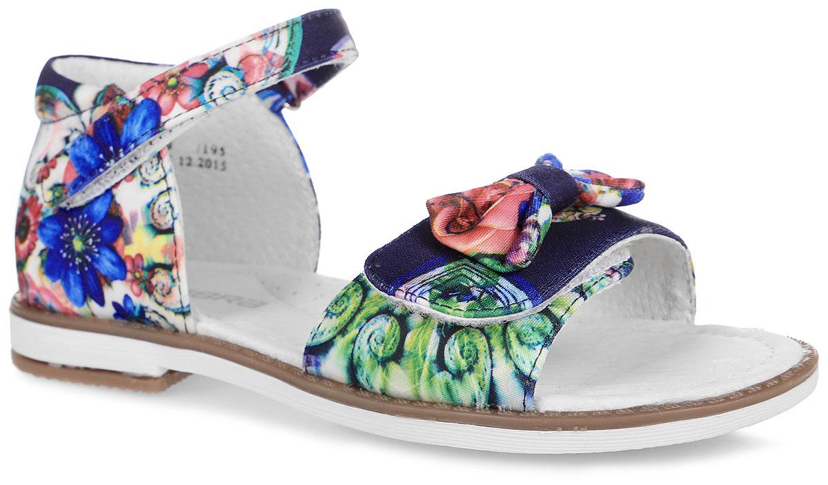 Сандалии для девочки. 10371-1910371-19Замечательные сандалии от Зебра придутся по душе вашей девочке. Модель максимально открыта и выполнена из текстиля, оформлена ярким цветочным принтом. Мысок дополнен декоративным бантом. Внутренняя поверхность изготовлена из натуральной кожи, что предотвращает натирание и гарантирует уют. Стелька из ЭВА материала с поверхностью из натуральной кожи оснащена небольшим супинатором с перфорацией, который обеспечивает правильное положение ноги ребенка при ходьбе и предотвращает плоскостопие. Застежка-липучка закрепляет обувь в носочной области и в области голеностопа, за счет этого сандалии можно регулировать с учетом полноты стопы вашего ребенка. Протектор на подошве и на каблуке гарантирует отличное сцепление с любой поверхностью. Такие сандалии подойдут для прогулок в жаркую погоду!