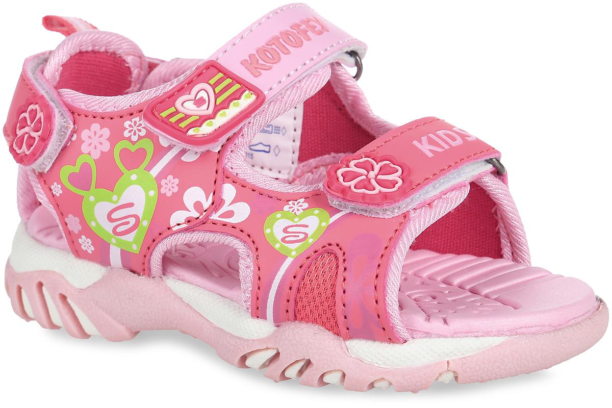 Сандалии для девочки. 323039-13323039-13Прелестные сандалии от Котофей приведут в восторг вашу девочку. Модель, выполненная из искусственной кожи и текстиля, оформлена ярким принтом, на ремешках - декоративными нашивками из ПВХ и буквенным принтом. Ремешки с застежками-липучками обеспечивают надежную фиксацию модели на ноге. Внутренняя поверхность из текстиля и стелька из материала ЭВА с рельефной поверхностью комфортны при ходьбе. Подошва с рифлением гарантирует отличное сцепление с любой поверхностью. Стильные сандалии - незаменимая вещь в гардеробе каждой девочки!