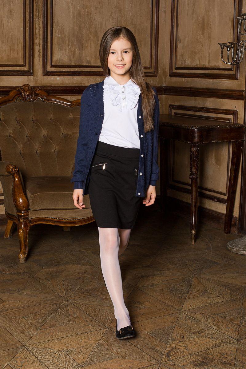 Жакет205634Вязаный жакет с V-образным вырезом, на пуговицах с ажурной вязкой. Идеально подходит для школы и повседневной жизни.
