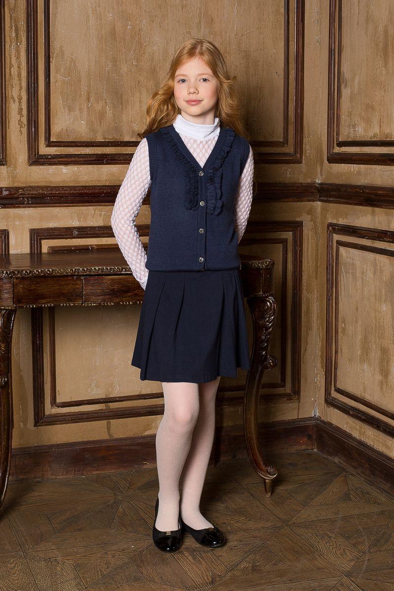 Юбка205640Трикотажная юбка со складками и поясом с декоративной бляшкой. В юбке предусмотрена внутренняя резинка на поясе, что делает модель удобной и комфортной.