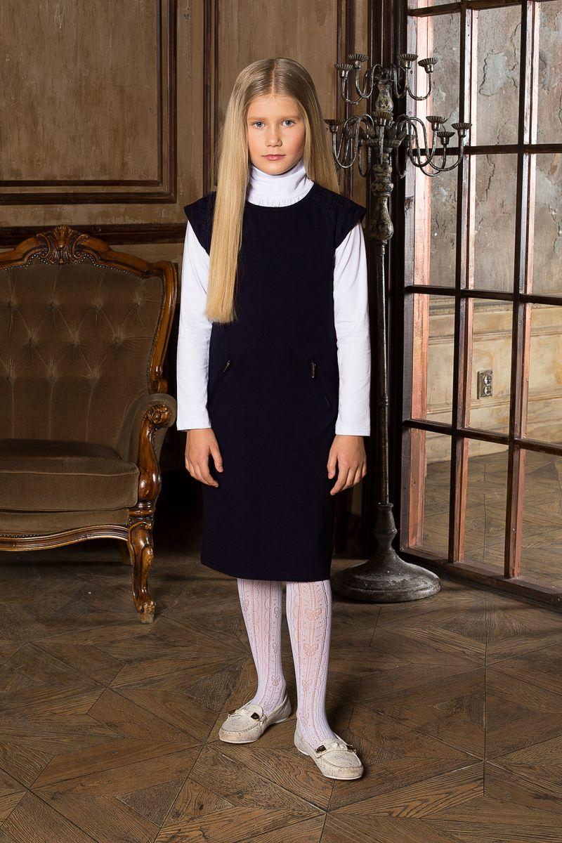 Сарафан205660Стильный сарафан для девочки Luminoso выполнен из хлопка с добавлением полиэстера и эластана. Модель прямого покроя с декоративными молниями, на месте карманов. Рукава украшены кружевом, в тон изделия.