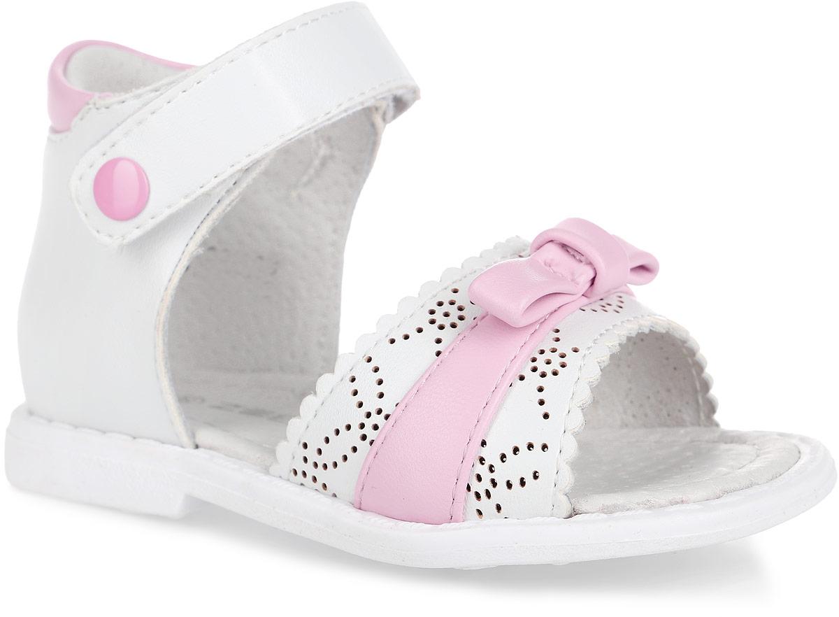 Сандалии для девочки. 10377-910377-9Прелестные сандалии от Зебра придутся по душе вашей девочке и идеально подойдут для повседневной носки в летнюю погоду! Модель, выполненная из искусственной кожи, оформлена перфорацией и декоративным бантиком. Ремешок с застежкой-липучкой обеспечивает надежную фиксацию модели на ноге. Внутренняя поверхность и стелька из натуральной кожи комфортны при ходьбе. Стелька оснащена супинатором с перфорацией, который обеспечивает правильное положение стопы ребенка при ходьбе и предотвращает плоскостопие. Подошва с рифлением гарантирует отличное сцепление с любой поверхностью. Стильные сандалии - незаменимая вещь в гардеробе каждой девочки!