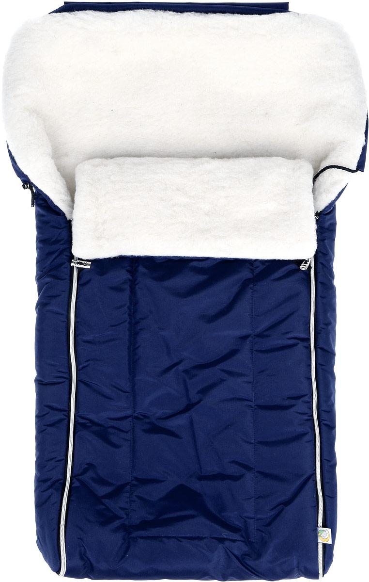 982/6_синийМногофункциональный и теплый меховой конверт для новорожденного Сонный Гномик Норд отлично подойдет для долгих зимних прогулок. Конверт изготовлен из специальной синтетической ткани Dewspo (100% полиэстер), которая защищает от дождя и ветра. Меховая подкладка выполнена из шерсти с добавлением полиэстера. В качестве утеплителя используется шелтер (100% полиэстер). Шелтер (Shelter) - утеплитель, состоящий из микроволокон, удачно сочетает непревзойденное тепло натурального пуха и лучшие качества синтетических материалов. Его уникальность состоит в особенности структуры, повторяющей пух. Ультратонкие волокна делают утеплитель мягким, позволяющим ребенку активно двигаться. Утеплитель шелтер максимально защищает от холода, не стесняя движений, позволяя телу дышать. Конверт легко стирается в домашних условиях, быстро сохнет и сохраняет форму. Конструкция модели снабжена двумя удобными застежками-молниями. Она раскладывается на два отдельных меховых коврика....