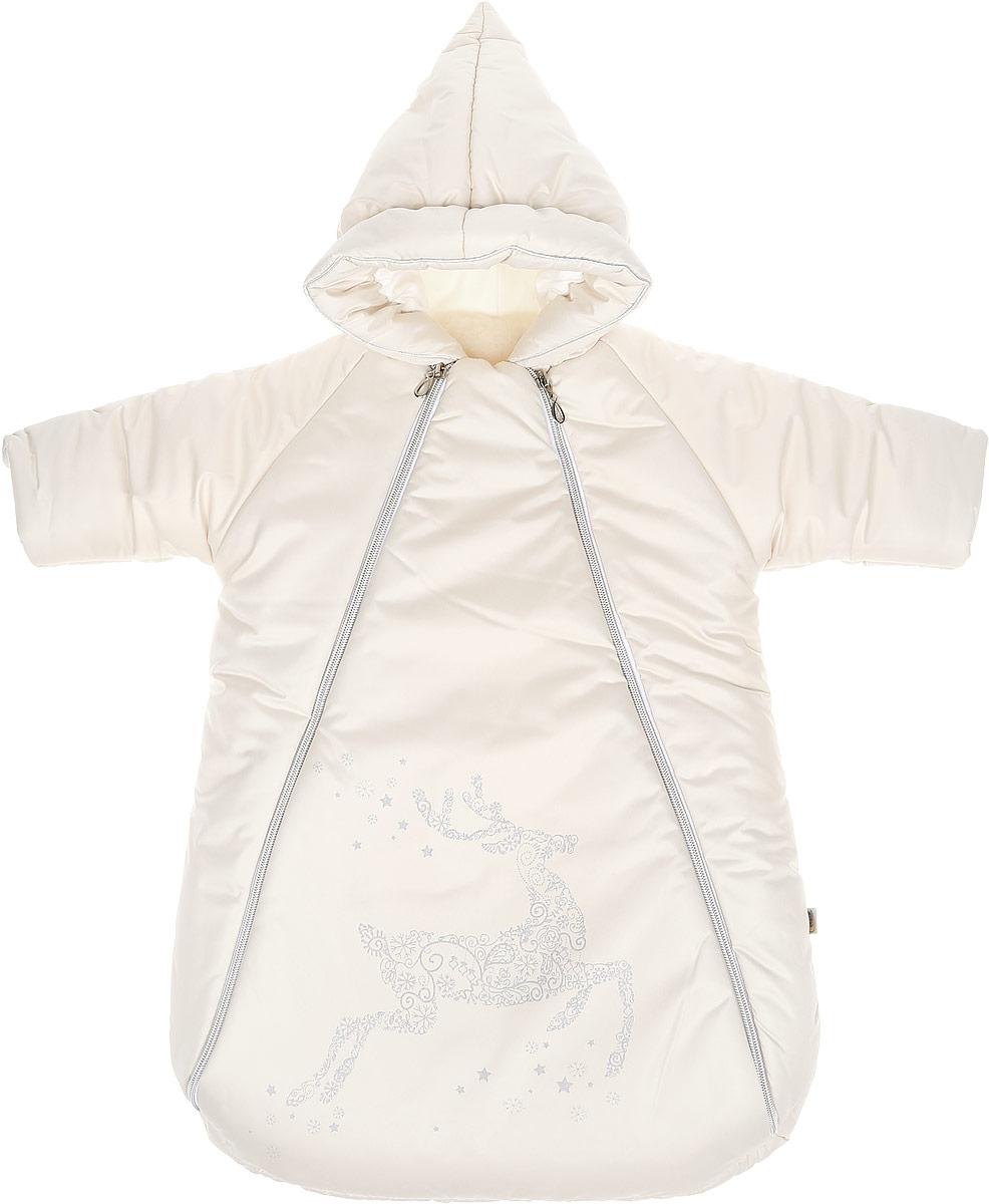 Конверт для новорожденного Созвездие. 988988/0Зимний конверт для новорожденного Сонный гномик Созвездие порадует даже самых требовательных мам и согреет малыша в холодную погоду. Конверт изготовлен из специальной синтетической ткани Dewspo (100% полиэстер), которая защищает от дождя и ветра. Меховая подкладка выполнена из шерсти с добавлением полиэстера. В качестве утеплителя используется шелтер (100% полиэстер). Шелтер (Shelter) - утеплитель, состоящий из микроволокон, удачно сочетает непревзойденное тепло натурального пуха и лучшие качества синтетических материалов. Его уникальность состоит в особенности структуры, повторяющей пух. Ультратонкие волокна делают утеплитель мягким, позволяющим ребенку активно двигаться. Утеплитель шелтер максимально защищает от холода, не стесняя движений, позволяя телу дышать. Конверт легко стирается в домашних условиях, быстро сохнет и сохраняет форму. Конверт с несъемным капюшоном и рукавами-реглан закрывается при помощи двух пластиковых молний и клапана на...