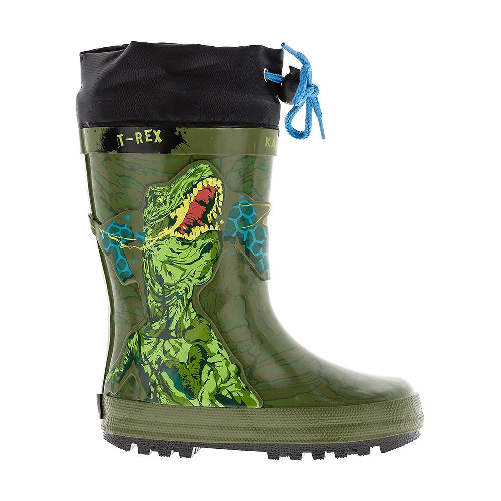 6065AРезиновые сапоги Animal Planet от Kakadu превосходно защитят ноги вашего ребенка от промокания в дождливый день. Сапоги выполнены из резины и оформлены изображением динозавра. Текстильный верх голенища регулируется в объеме за счет шнурка со стоппером. Рельефная поверхность подошвы гарантирует отличное сцепление с любой поверхностью. Яркая и комфортная обувь с изображениями любимых персонажей порадует маленьких непосед.