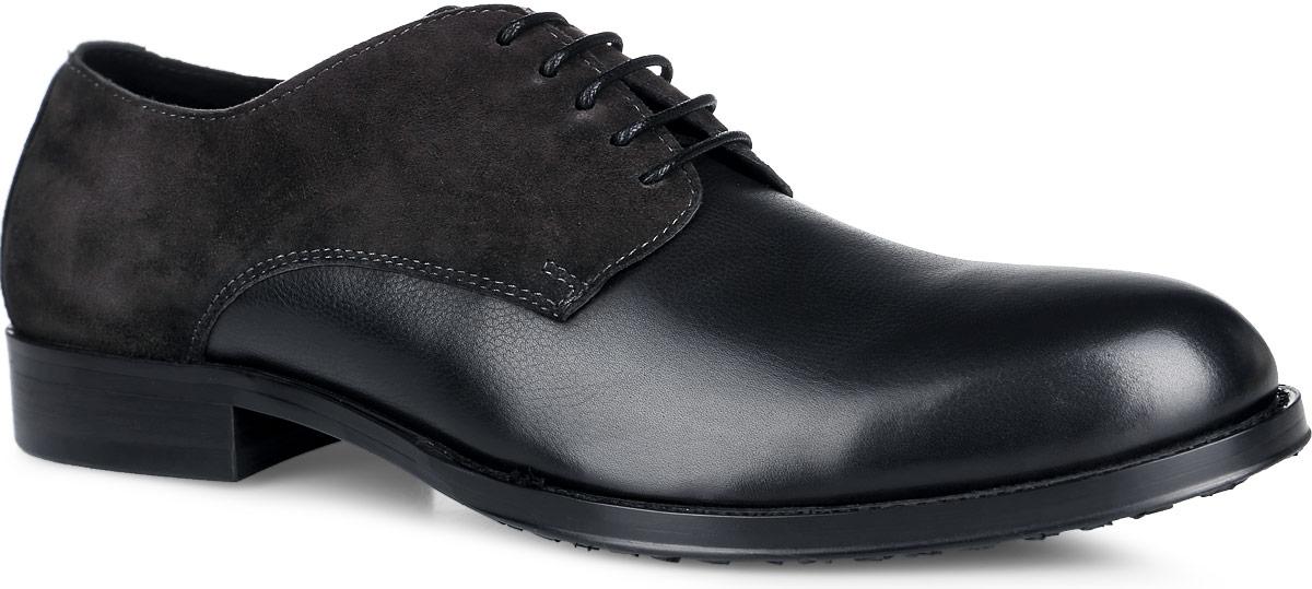 Туфли мужские. M23701M23701Стильные мужские туфли от Vitacci придутся вам по душе. Модель изготовлена из натуральной кожи, на подъеме дополнена вставкой из замши. Подъем дополнен шнуровкой, которая надежно зафиксирует обувь на вашей ноге. Подкладка из натуральной кожи обеспечивает дополнительный комфорт и предотвращает натирание. Стелька из натуральной кожи позволит ногам дышать. Эластичная подошва выполнена из термополиуретана. Стильные туфли - необходимая вещь в гардеробе каждого мужчины.